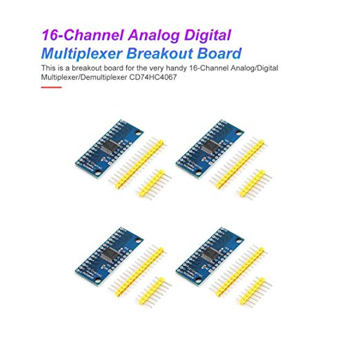 Kaemma 4Pcs High Speed ​​16CH Analog Digital Multiplexer Breakout-Brett-Modul CD74HC4067 CMOS Precise-Modul für Arduino Multicolor
