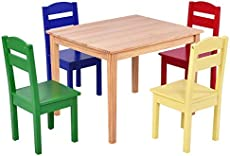 Costzon Kids Wooden Table and 4 Chair Set, 5 Pieces Set Includes 4 Chairs and 1 Activity Table, Toddler Table for 2-6 Years, Playroom Furniture, Picnic Table w/Chairs, Dining Table Set (Multicolor)