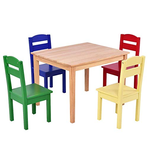 Costzon Kids Table and Chair Set, 5 Piece Wood Activity Table & Chairs for Children Arts Crafts, Homework, Snack Time, Preschool Furniture, Gift for Boys Girls, Toddler Table and Chair Set, Multicolor