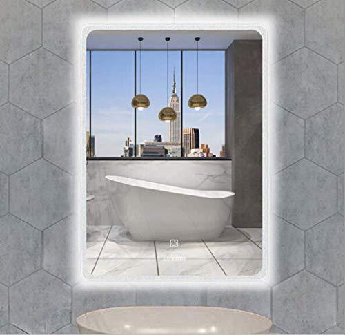 Luvodi Miroir Salle De Bain Mural Avec Eclairage 60 X 80cm Miroir Maquillage Lumineux Led Anti Buee Avec Interrupteur Tactile Lumiere Blanche