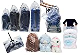 Dust Cover Big Plastic Drawstring Bags Multi-Purpose for Storage and Keeping Luggage, Big Dolls, Blankets, Pillows, Suitcase Good for Household Organizing Reusable Set of 4 bags Size S, M, L, XL