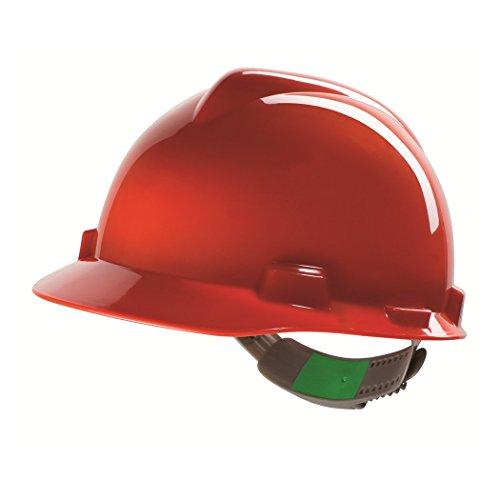 MSA V-Gard Arbeitshelm EN397 mit Schieberegelung PushKey - Bauarbeiterhelm Schutzhelm Baustellenhelm Elektrikerhelm, Farbe: rot