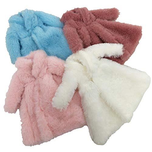 ADHG 4 Pezzi/Set Multicolore Manica Lunga Pelliccia Morbida Cappotto Top Inverno Caldo Abbigliamento Casual Accessori Vestiti per Bambola Giocattolo per Bambini