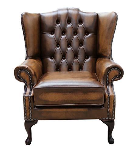 Sofas4u Chesterfield Bloomsbury Flat Wing Queen Anne - Silla con Respaldo Alto, Piel Envejecida, Color marrón