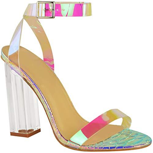 Fashion Thirsty Damen Sandaletten in Hologramm-Optik - Transparenter Blockabsatz - Hologramm-Riemen/Regenbogen - EUR 38