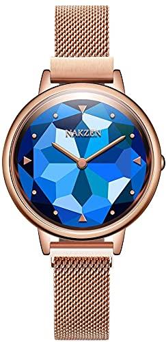 Relojes for Mujer: Muelle de Cuarzo de Las señoras, Reloj de Malla de Acero Inoxidable Impermeable, joyería de Reloj de dial de Vidrio Hecho a Mano, Regalo de cumpleaños de Halloween (Color : Blue)