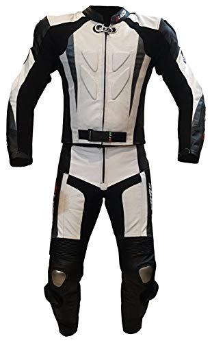 Bikes Motorradkombi aus echtem Leder, teilbar mit Jacke und Hose, verstellbar, mit CE-Protektoren XS weiß/schwarz