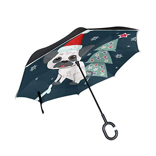 SKYDA Umkehr-Regenschirm mit niedlichem Mops in der Nähe von Weihnachtsbaum, umgekehrte Regenschirme, doppelschichtig, Winddicht, für Auto und Regen im Freien mit C-förmigem Griff
