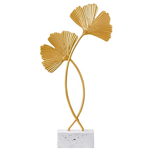 mooderf Ginkgo Leaves Sculpture Ornament, Metal Wall Art Esculturas de pared de hierro estilo nórdico para el hogar, la oficina, la mesa de escritorio, la sala de estudio, decoración