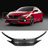 ECOTRIC New Black Front Bumper Grille Hood Eye Lid Compatible with 2016-2018 Honda Civic All Trim