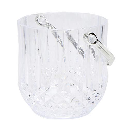 Kaliove Cubo de Hielo de Vidrio Cubo de Vino de champán Transparente con Pinza de Mango Ideal para Entretenimiento y Uso Diario