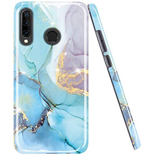 JAHOLAN Huawei P30 lite Hülle Handyhülle TPU Silikon Weiche Schlank Schutzhülle Handytasche Flexibel Hülle Handy Hülle für Huawei P30 lite - Marmor Gold Glitter Sparkle Blau Violett