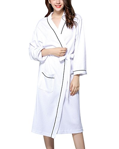 Albornoz Unisex Adultos Waffle Batas Kimonos Sauna SPA Hotel Casa Baño Pijama Ropa de Dormir Blanco S