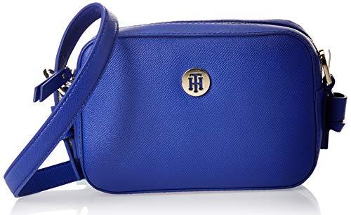Tommy Hilfiger Damen Classic Saffiano Camera Bag Umhängetasche, Blau (Cobalt), 6x0.1x19 centimeters