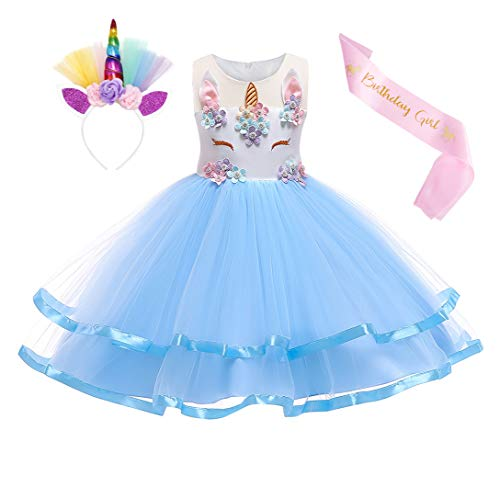 Jurebecia Disfraz Princesa Vestido de Unicornio para Nia Beb Disfraz de Fiesta Princesa Tut Vestido Halloween Princesa Fiesta de Cumpleaos Azul 9-10 Aos