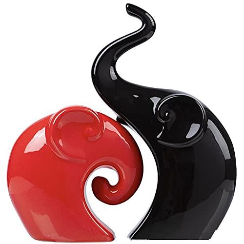 HJBH Elegante Par De Esculturas De Cerámica, Lindo Elefante Negro Rojo Amor, Suministros De Artesanía De Cerámica, Estatuas De Animales, Esculturas, Adornos, Moda, Hogar, Sala De Estar, Regalos De Bod