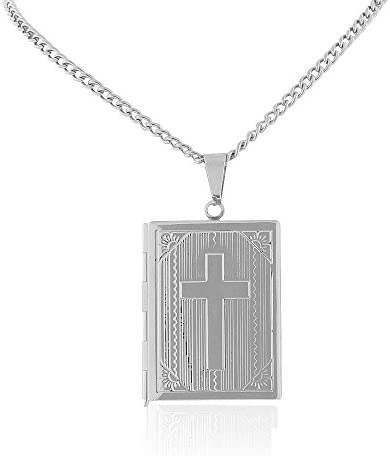 My Daily Styles Stainless Steel Silver Tone Religious Cross Bible Book Locket 22 product image