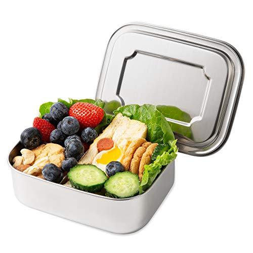 Yangbaga Brotdose aus Edelstahl, BPA-Freie Bento-Box mit 3 Fächern, Frischhaltedose für Studenten und Erwachsene