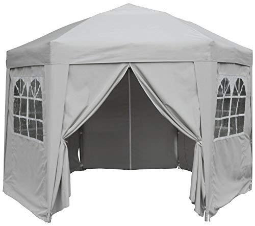 AIRWAVE 3.5m Hexagonal Waterproof Grey Pop Up Gazebo - Stunning Outdoor Marquee Tent with Carry Bag