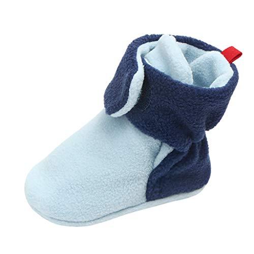 Unisex-Baby - Botines de Forro Polar para recién Nacido XXYsm, Zapatillas de bebé para niños de 0 a 18 Meses, Color Azul, Talla 6-12 Meses