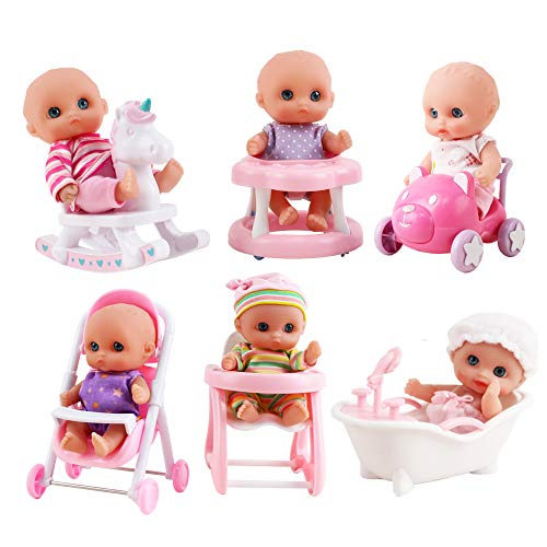 deAO 6 Pack 5' Miniature Baby Doll Play Set with Miniature High Chair, Ride On, Rocking Horse and Much More Included