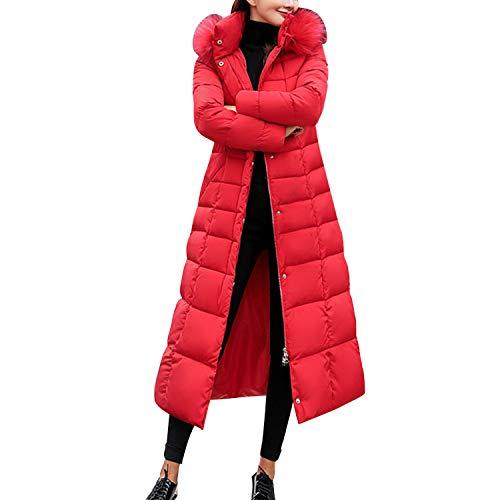 LAEMILIA Damen Winter Jacken Lang, Warm Daunenmantel mit Kapuze, Verdickt Übergangsjacke Maxi Parka Jacke Kunstpelz GürtelLangarm Steppjacke Outwear Damenmantel