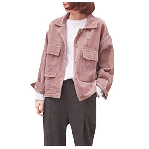 Herbst Winter Damen Cordjacke Oversize üBergangsjacke,Kanpola Freie GrößE Vintage Jacke mit Revers Hemd Knopfverschluss Cardigan