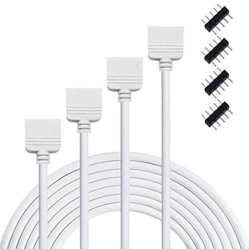 Liwinting 2x 3m RGBW LED Verlängerungs Kabel 5 Polig Anschlusskabel RGBW LED Verbinder Verteiler Verbinden SMD 5050 LED Streifen Verlängerung LED Band Kabel, mit freiem 4pcs 5 Polig Verbinder - Weiß