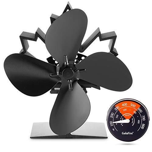 [2 Jahre Garantie] 50 Grad schnell begonnen 4 Flügel Wärme angetriebener Holzofen-Ventilator für Kamin Ofenventilator Ohne Strom + Kaminzubehör Magnetisch Kamin Thermometer