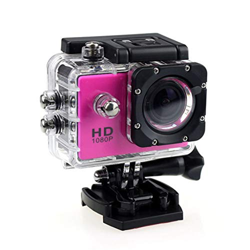 Posional Store Action Camera 1080P Full HD 140 Degree Wide Angle Underwater 30m Waterproof Underwater Camera Sport Camera (Red)