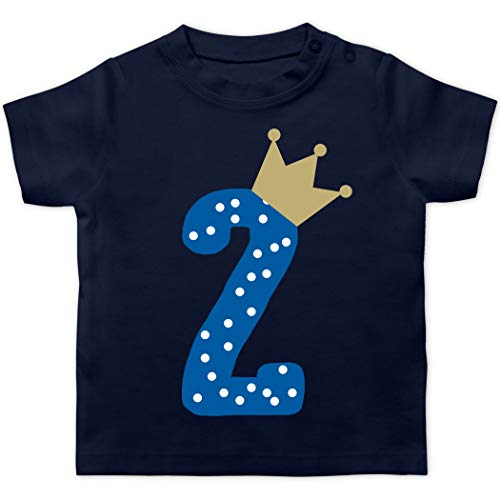 Geburtstag Baby - 2. Geburtstag Krone Junge - 18/24 Monate - Navy Blau - 2. Geburtstag - BZ02 - Baby T-Shirt Kurzarm