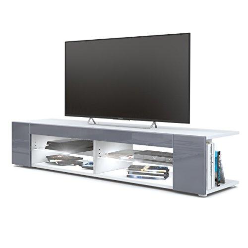 Meuble TV Armoire Basse Movie, Corps en Blanc Mat/Façades en Gris Haute Brillance avec l'éclairage LED en Blanc