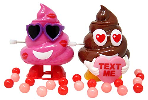 Brown and Pink Poop Emoji Toy Candy Dispenser with Heart Sunglasses, Set of 2