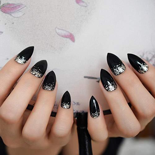 TJJF Glitter Stiletto Nails Black Nails Gel UV Faux Ongles Sharp Edge Artificial Tips 24