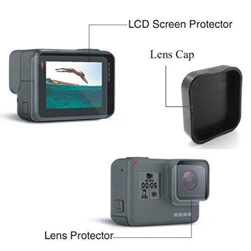micros2u LCD-scherm en lensbeschermfolie + zachte siliconen lensbeschermkap. Compatibel met Gorpro Hero 5, Hero 6