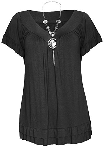 Womens Plus Size Frill Necklace Gypsy Ladies Tunic Short Sleeve Long V Neck Tops (18, Black)