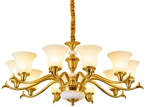 HJW Luces Decorativas Lámparas de Techo de Latón Industriales Rústicas, Lámpara de Luz Lujosa E27 Lámpara de Luz con Lámpara de Vidrio Lámpara de Pantalla Luces Colgantes para Sala de Estar Comedor,R