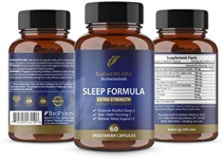 Extra Strength Sleep Formula with Valerian Root, Magnesium, GABA, Passion Flower Extract, Melatonin by Radiant RG-Cell Neutraceuticals - 60 Capsules