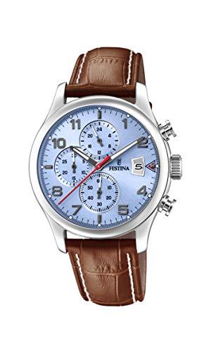 Festina Herren Chronograph Quarz Uhr mit Leder Armband F20375/5