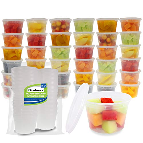 Freshware Food Storage Containers [36 Set] 16 oz Plastic Deli Containers with Lids | BPA Free | Stackable | Leakproof | Microwave/Dishwasher/Freezer Safe