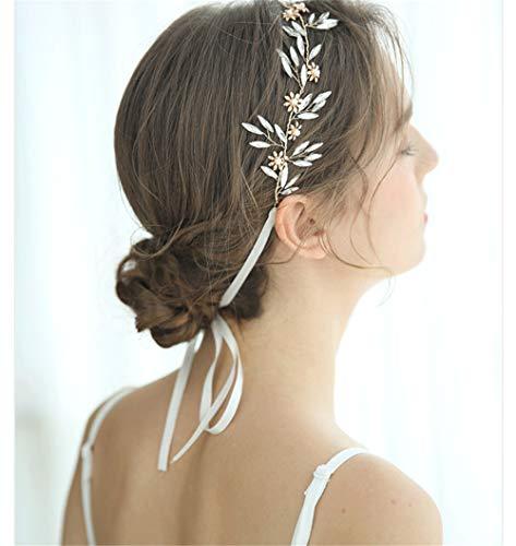 YUKANGI Bruidsjurk Elegant Ontwerp Tiara Haarband Handgemaakte Headdress Parel Haar Band Goud