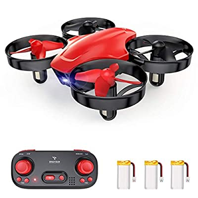 SNAPTAIN SP350 Mini Drone for Kids/Beginners, Portable Throw'n Go RC Quadcopter with 3 Batteries, Circle Flying, 3D Flip, Speed Adjustment & Altitude Hold, Great Gift/Toys for Boys & Girls-RED