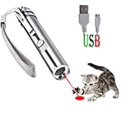Best Cat Toy---3 In 1 design, 3 kinds of light modes(Red dot for teasing pets,Mini white flashlight for your daily use,UV Detector for dog urine, pet stains and bed bug) Rechargable,Charge Quickly and Long Last---No batteries!This cat pointer toy can...