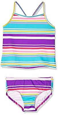 Spotted Zebra Girls' Kids Tankini Rashguard Swimsuit Sets, Purple Multi Stripe, Small