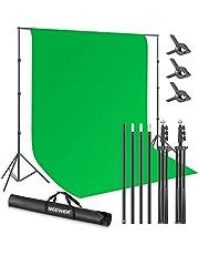 Neewer Studio 2,6 m x 3 m groene achtergrond statiefset, fotoachtergrond systeem met 10 x 3 voet polyester chromakey groene achtergrond en 3 achtergrondklemmen voor foto-video-opnames