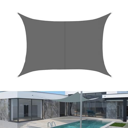 LUINNO Toldo con cuerdas de fijación, protección solar con 95% de protección UV para exteriores, jardín, terraza, patio, camping, poliéster, 2 m x 3 m, ángulo recto, gris, repelente al agua