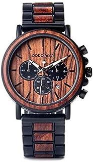 DODO DEER ドードーディア メンズ 木製腕時計 日本製クォーツ アナログ クロノグラフ スモールセコンド 夜光 日付表示 木製ギフトボックス ビジネス おしゃれなカジュアルウッドウォッチ A12-2 オレンジ