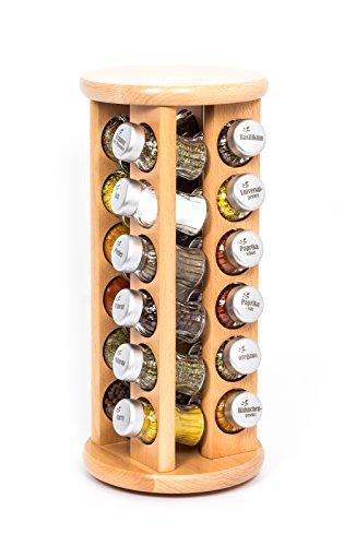 Gald Gewürzregal, Gewürzkarussell für Gewürze und Kräuter, 24 Gläser, Holz, Naturell/matt, 18.5 x 39.5 x 18.5 cm