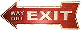 dingleiever-Way Out Exit Vintage Arrow Painting Retro Gift Craft Irregular Sign Bar Decor