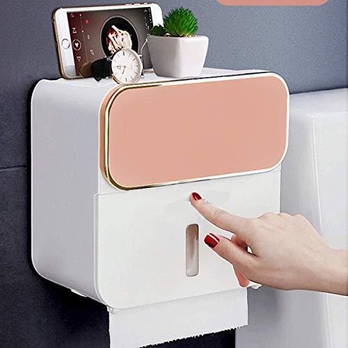 zyl Soporte para Papel higiénico a Prueba de Agua montado en la Pared Autoadhesivo dispensador de Papel higiénico Caja con cajón Caja de Papel multifunción Creativa Rosa